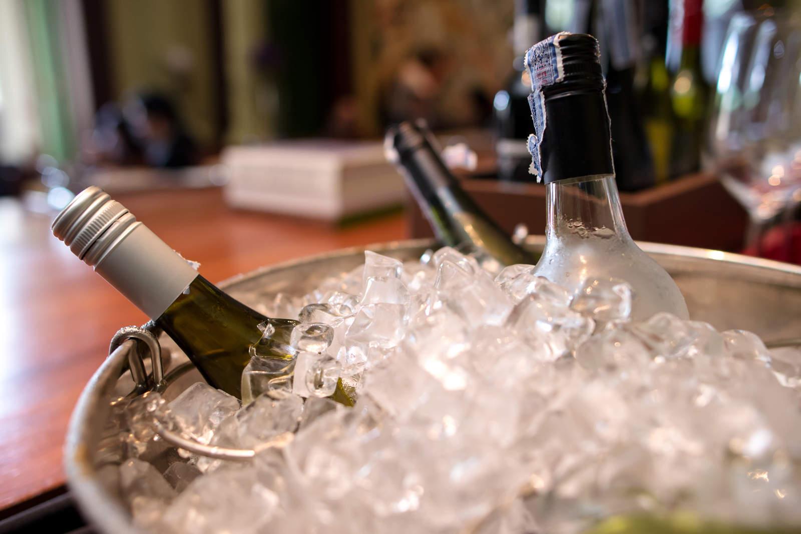 ¿A qué temperatura se sirve cada tipo de vino? Botellas enfriándose en una cubitera.